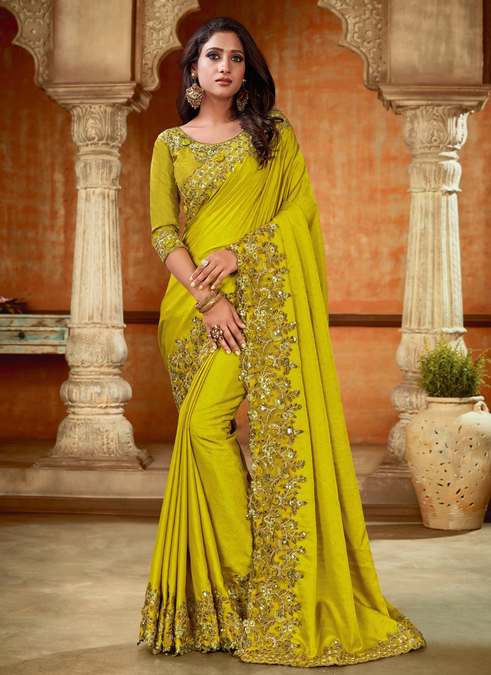 Green Resham Satin Designer Saree
