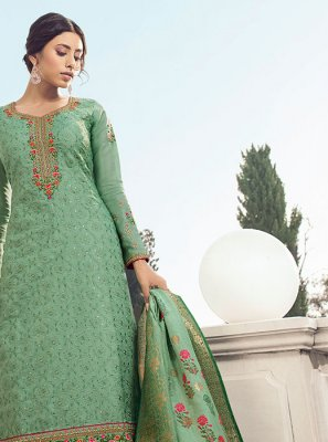 Green Resham Satin Silk Salwar Kameez