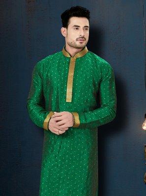Green Sangeet Cotton Kurta Pyjama