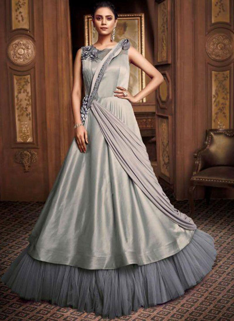 Grey Sangeet Designer Gown