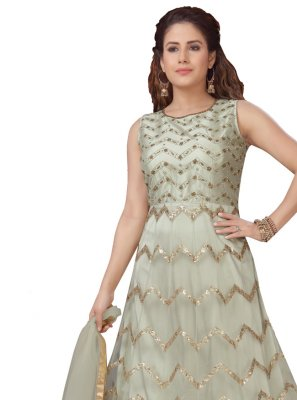 Green Sangeet Readymade Anarkali Suit
