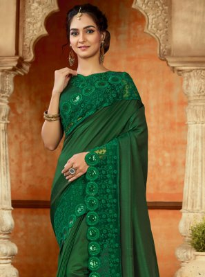 Green Satin Designer Saree