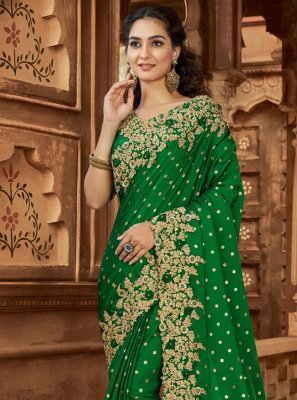 Green Satin Embroidered Designer Saree