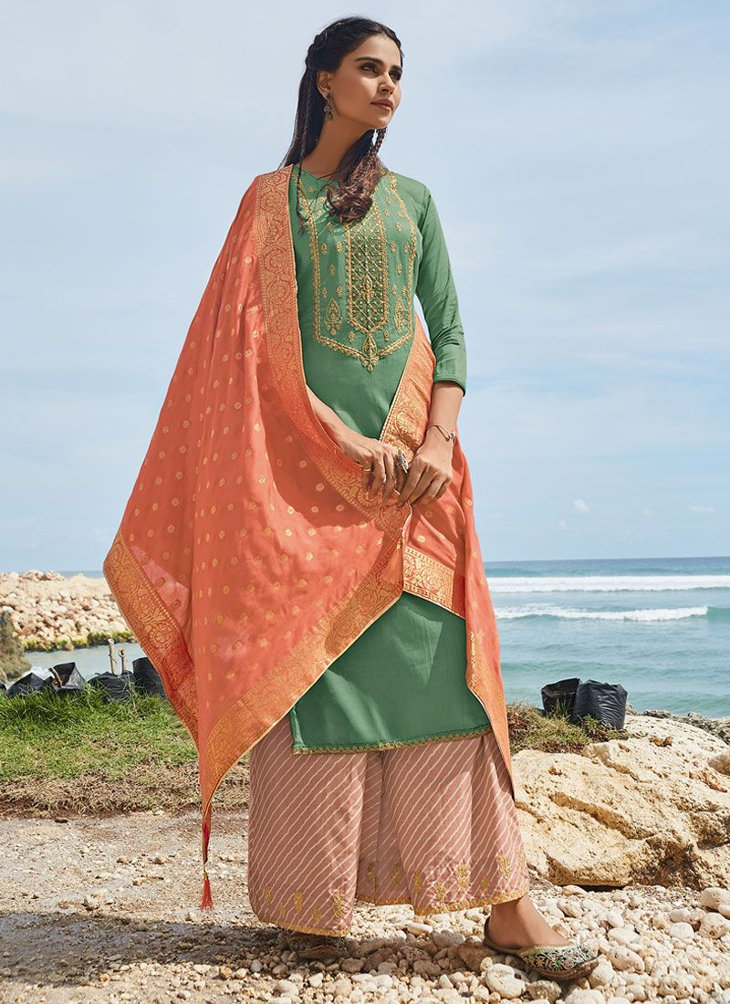 Green Satin Embroidered Salwar Suit