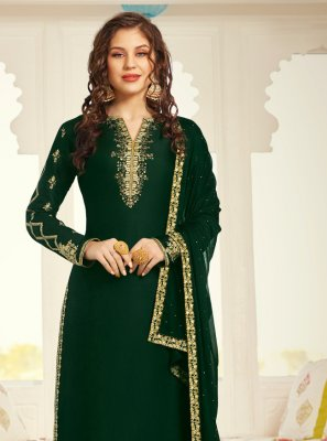 Green Satin Sangeet Designer Straight Salwar Kameez