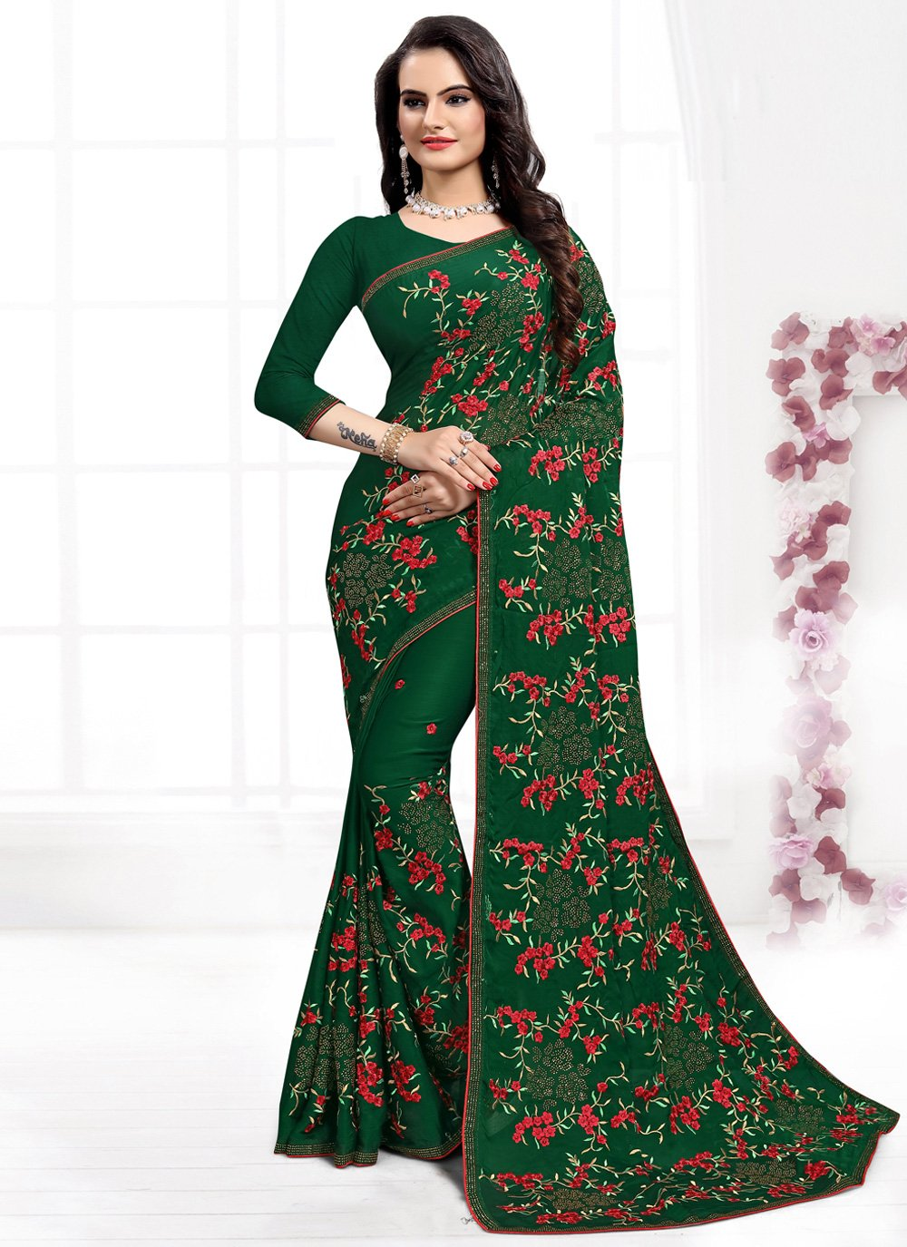 Green Satin Silk Classic Designer Saree