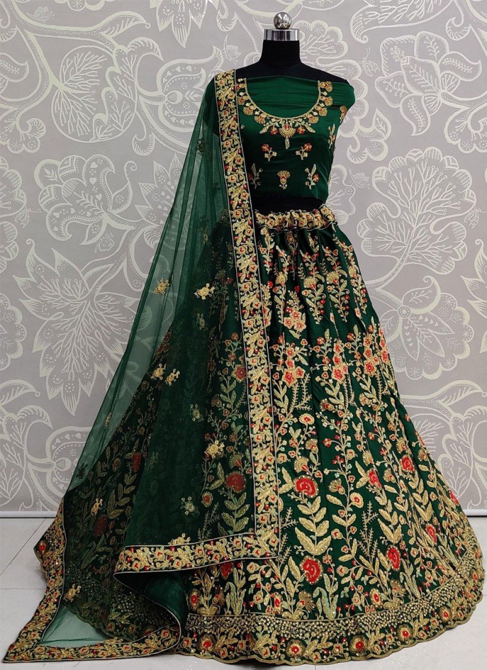 Green Satin Silk Resham Lehenga Choli