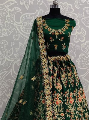 Green Satin Silk Resham Lehenga Choli