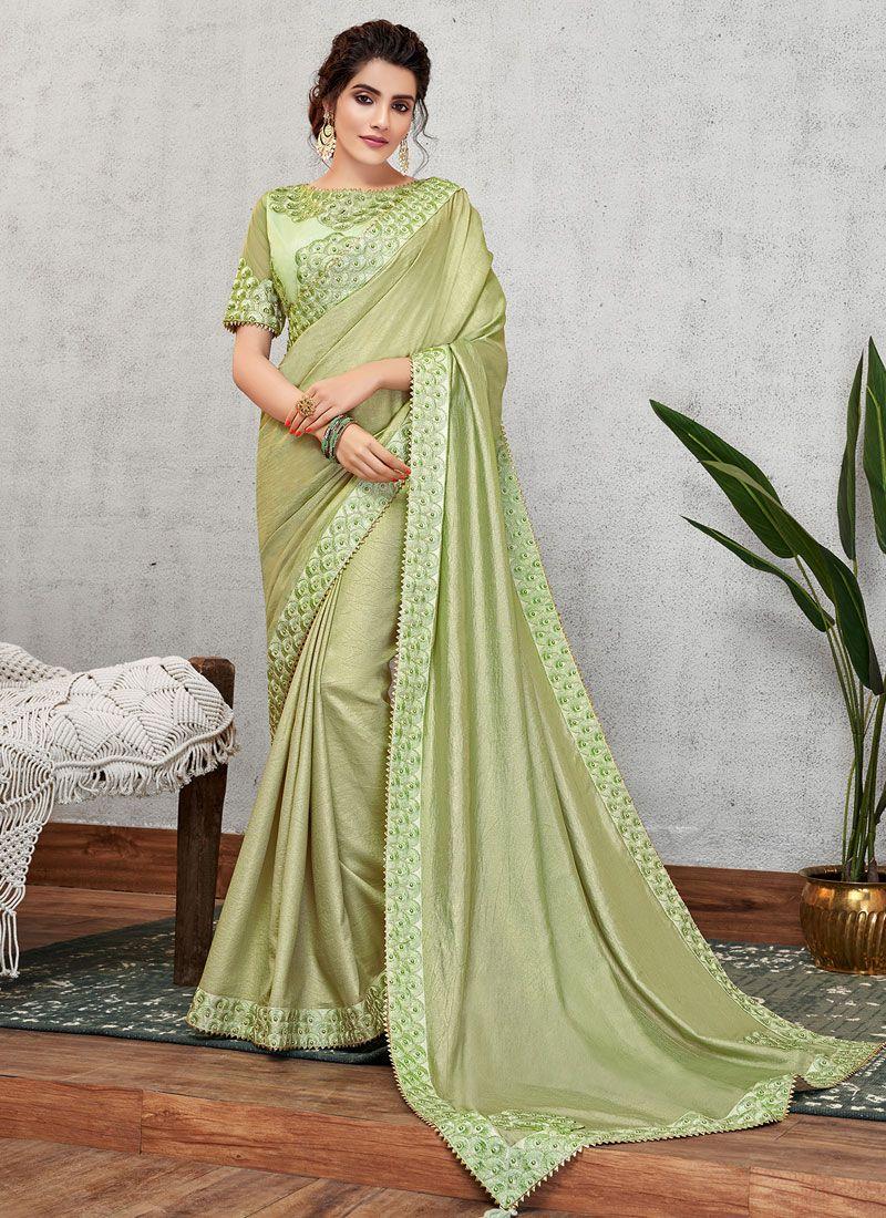Green Satin Silk Traditional Designer Saree