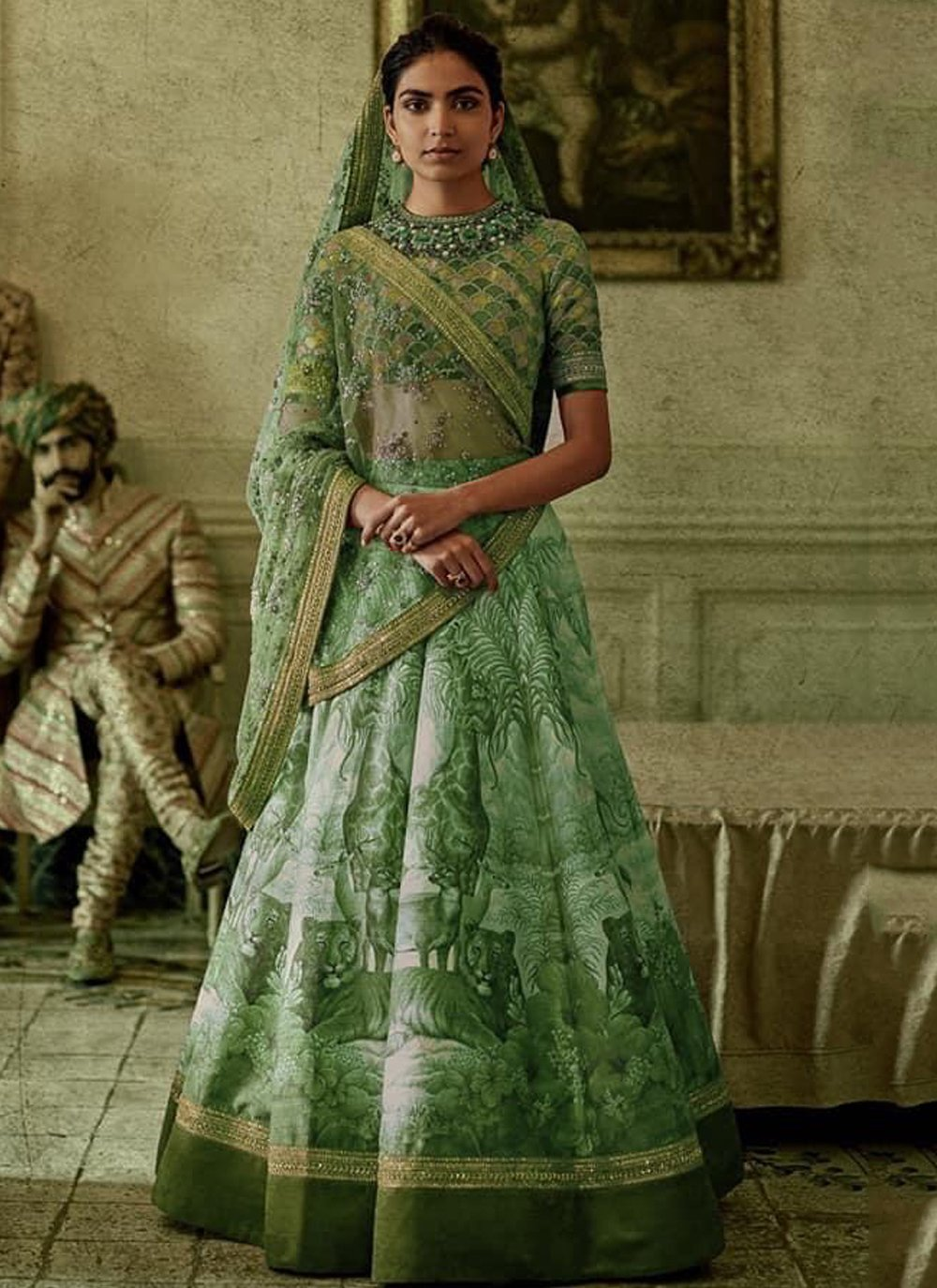 Green Silk A Line Lehenga Choli