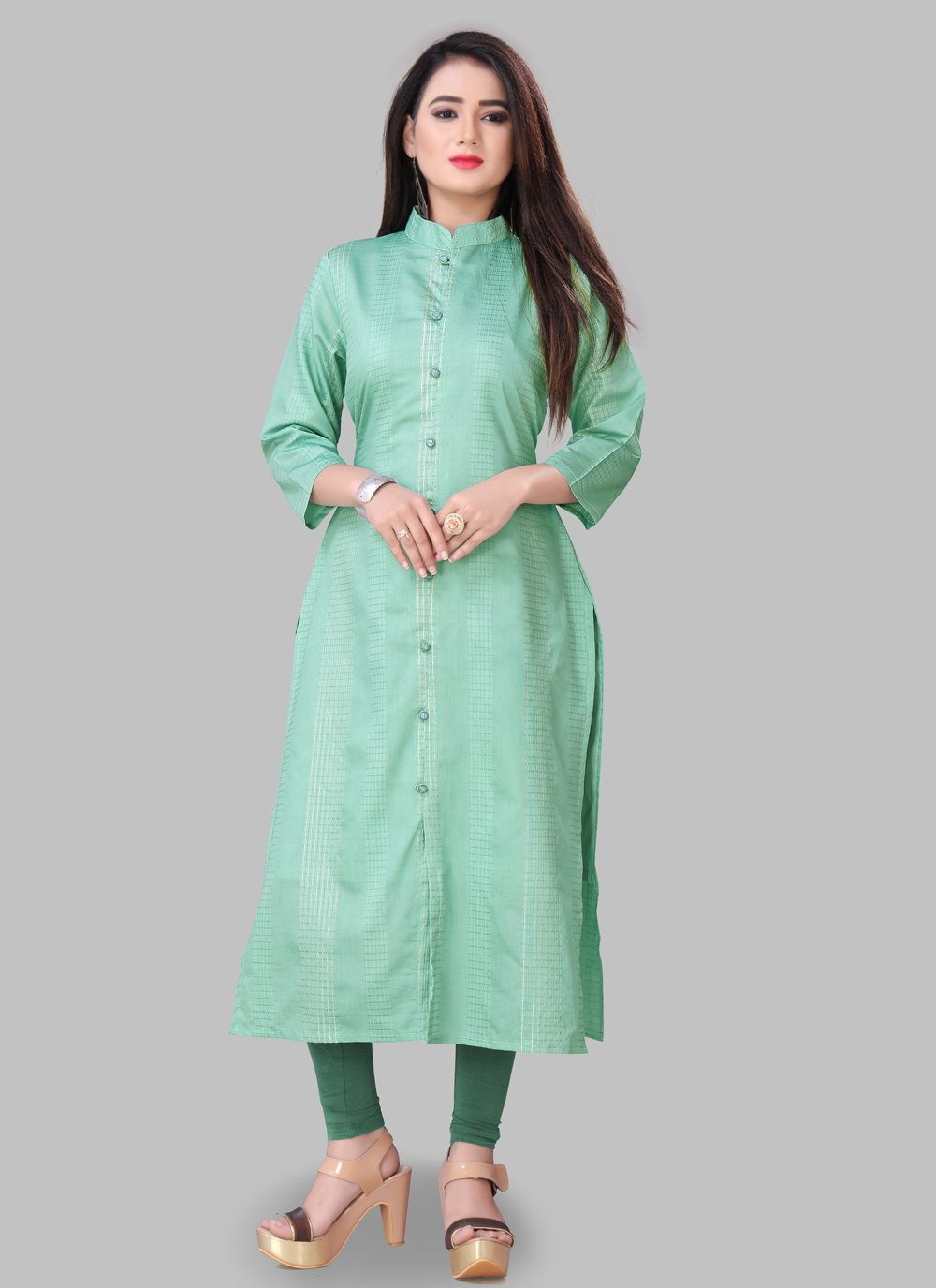 Green Silk Casual Party Wear Kurti