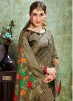 Green Silk Ceremonial Contemporary Saree