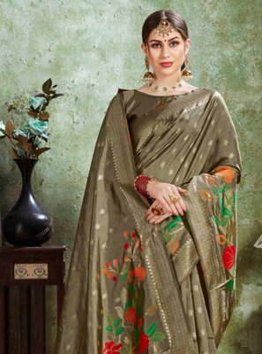 Green Silk Ceremonial Contemporary Saree