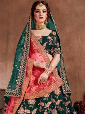 Green Silk Ceremonial Lehenga Choli