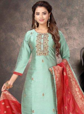 Green Silk Churidar Salwar Kameez