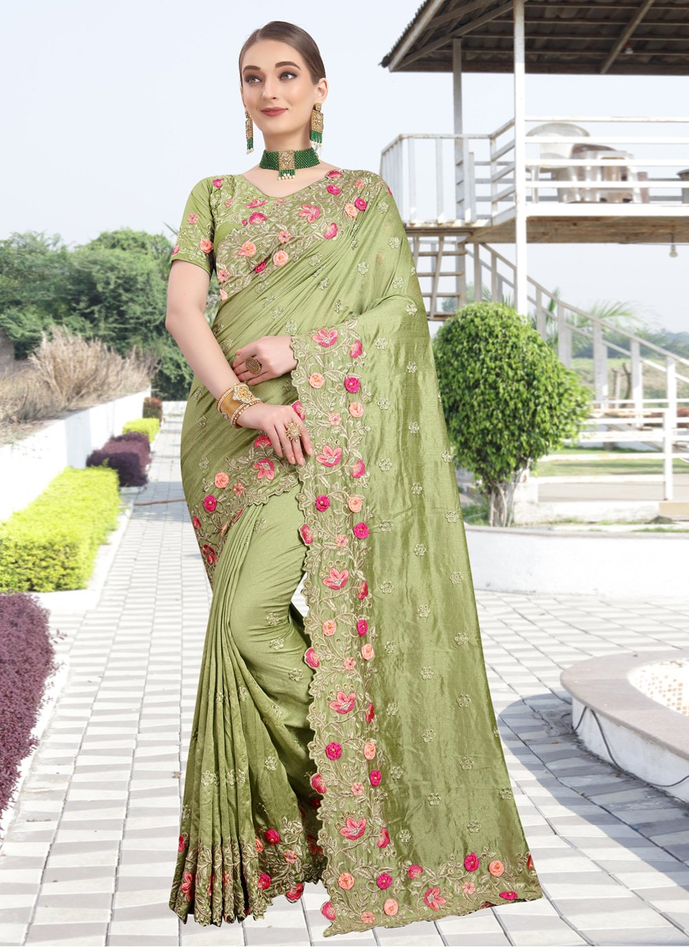 Green Silk Classic Designer Saree