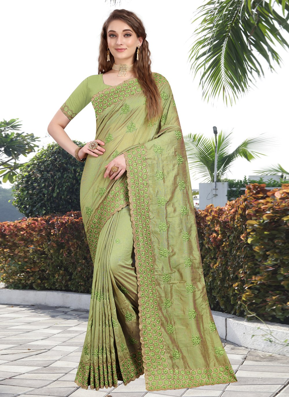 Green Silk Contemporary Saree