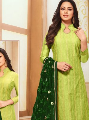 Green Silk Designer Suit