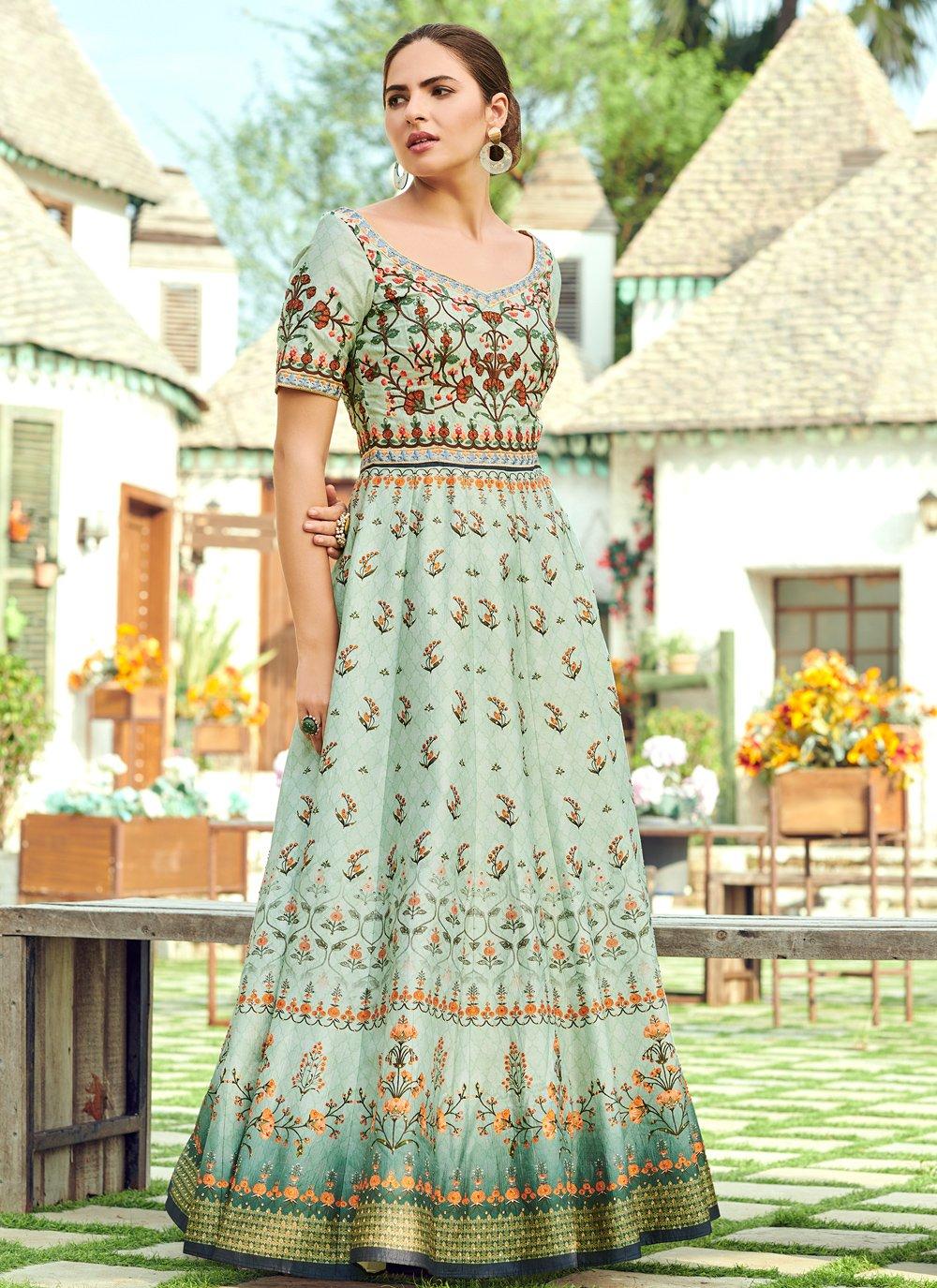 Green Silk Digital Print Trendy Gown