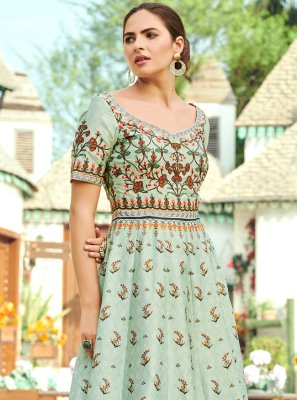 Green Silk Digital Print Trendy Gown