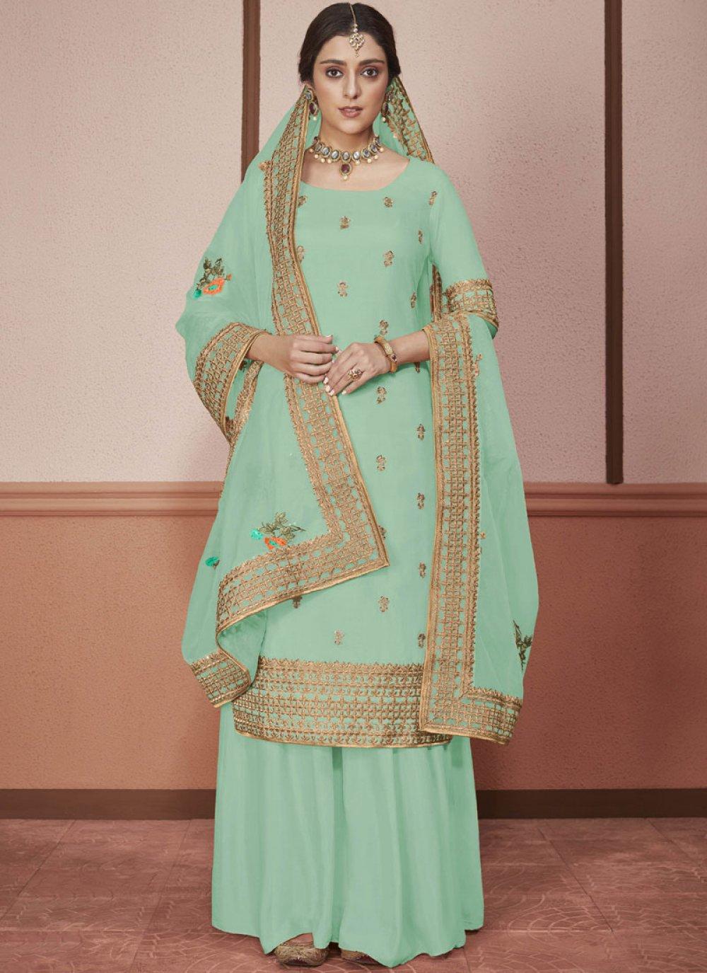 Green Silk Embroidered Churidar Salwar Kameez