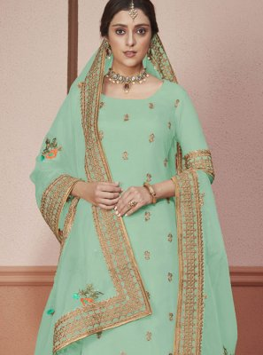 Green Silk Embroidered Churidar Salwar Kameez