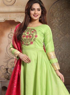 Green Silk Embroidered Readymade Salwar Suit