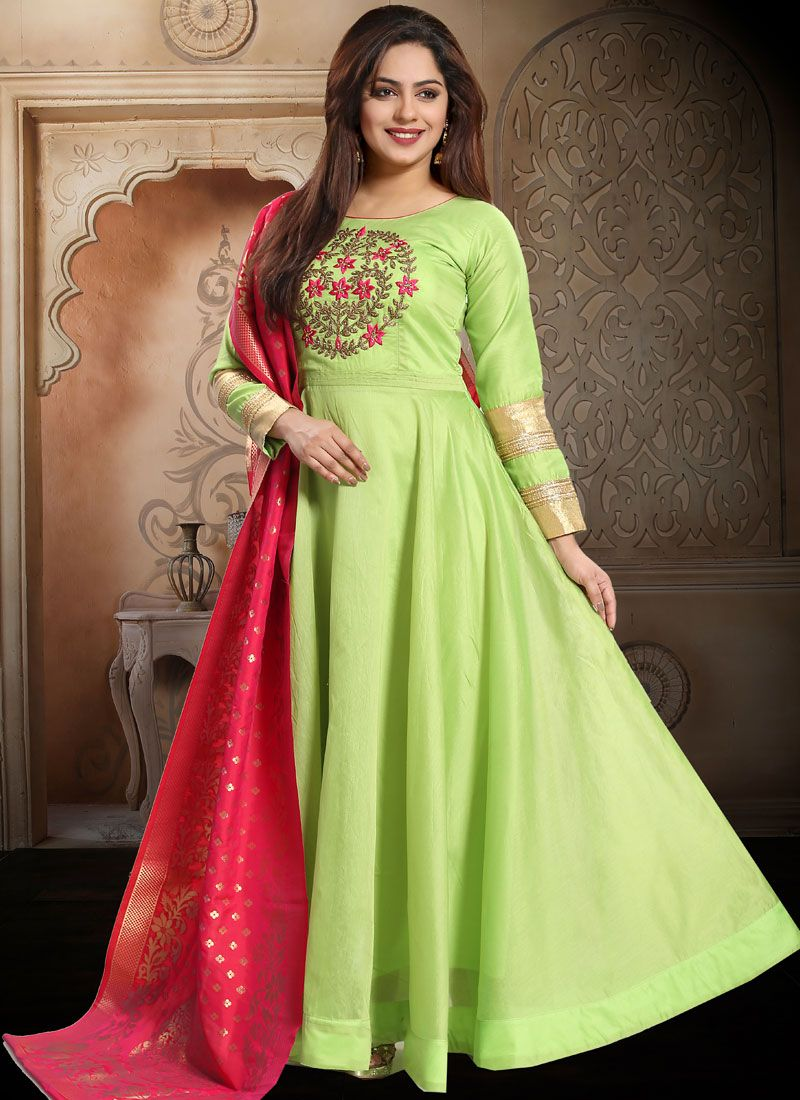 Green Silk Embroidered Readymade Salwar Suit
