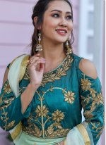 Green Silk Embroidered Trendy Gown