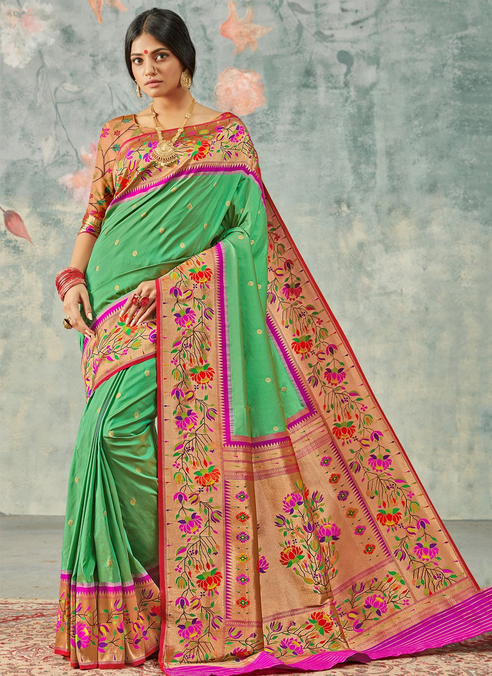 Green Silk Festival Designer Saree