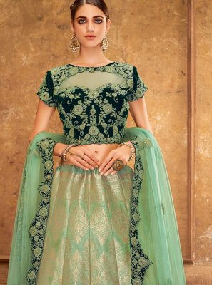 Green Silk Handwork Trendy A Line Lehenga Choli