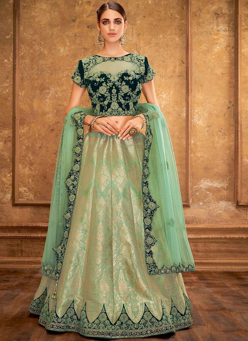 Green Silk Handwork Trendy A Line Lehenga Choli