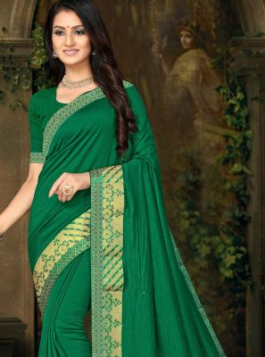 Green Silk Lace Classic Saree