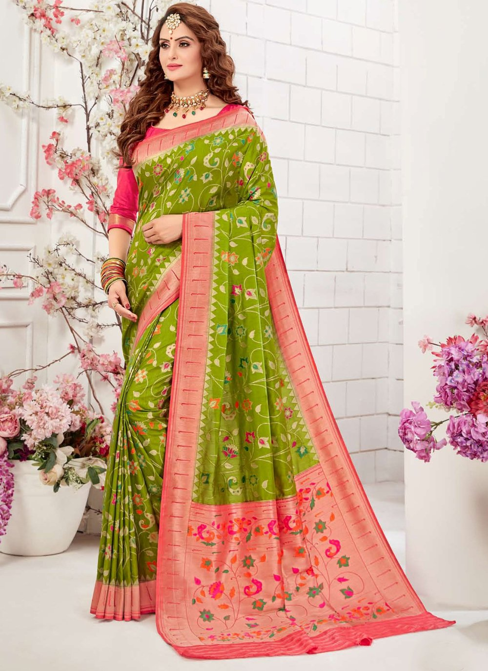 Green Silk Meenakari Traditional Designer Saree