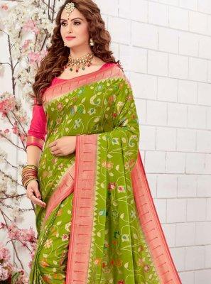 Green Silk Meenakari Traditional Designer Saree