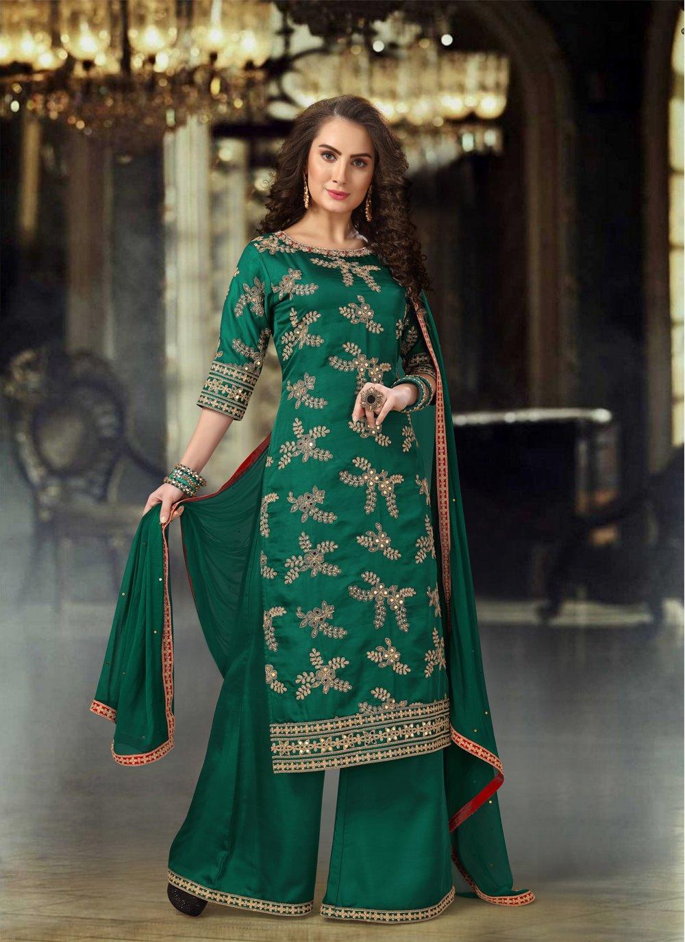 Green Silk Palazzo Designer Salwar Kameez