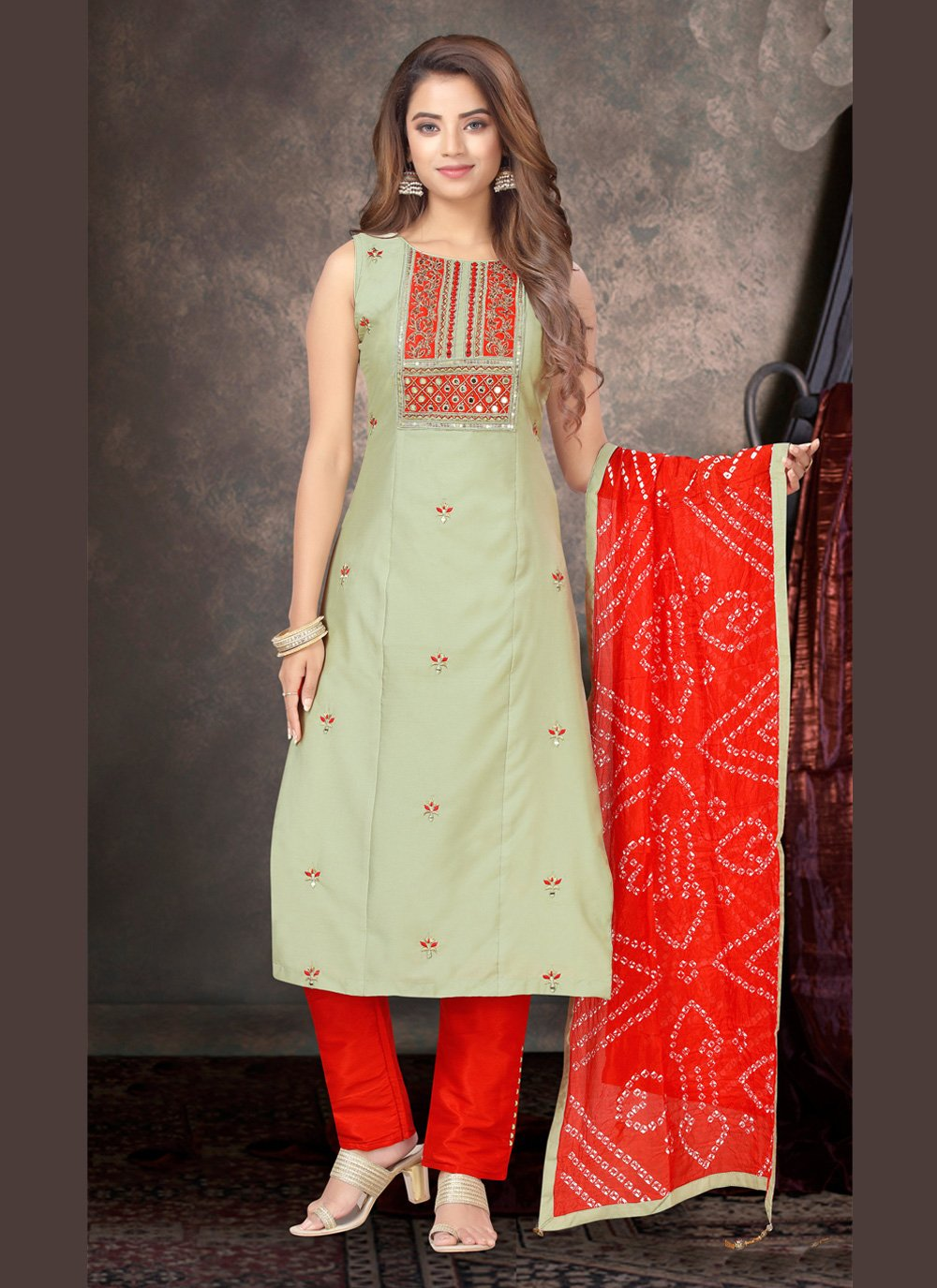 Green Silk Party Pant Style Suit