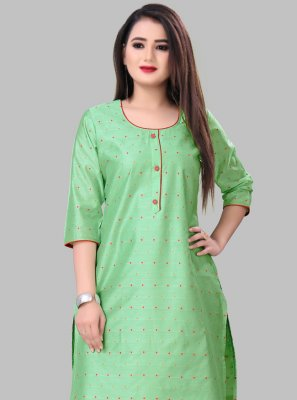 Green Silk Party Wear Kurti