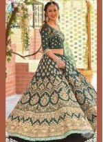 Green Silk Resham Designer Lehenga Choli