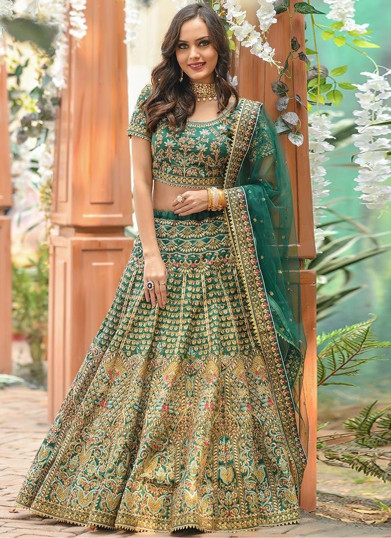 Green Silk Resham Lehenga Choli