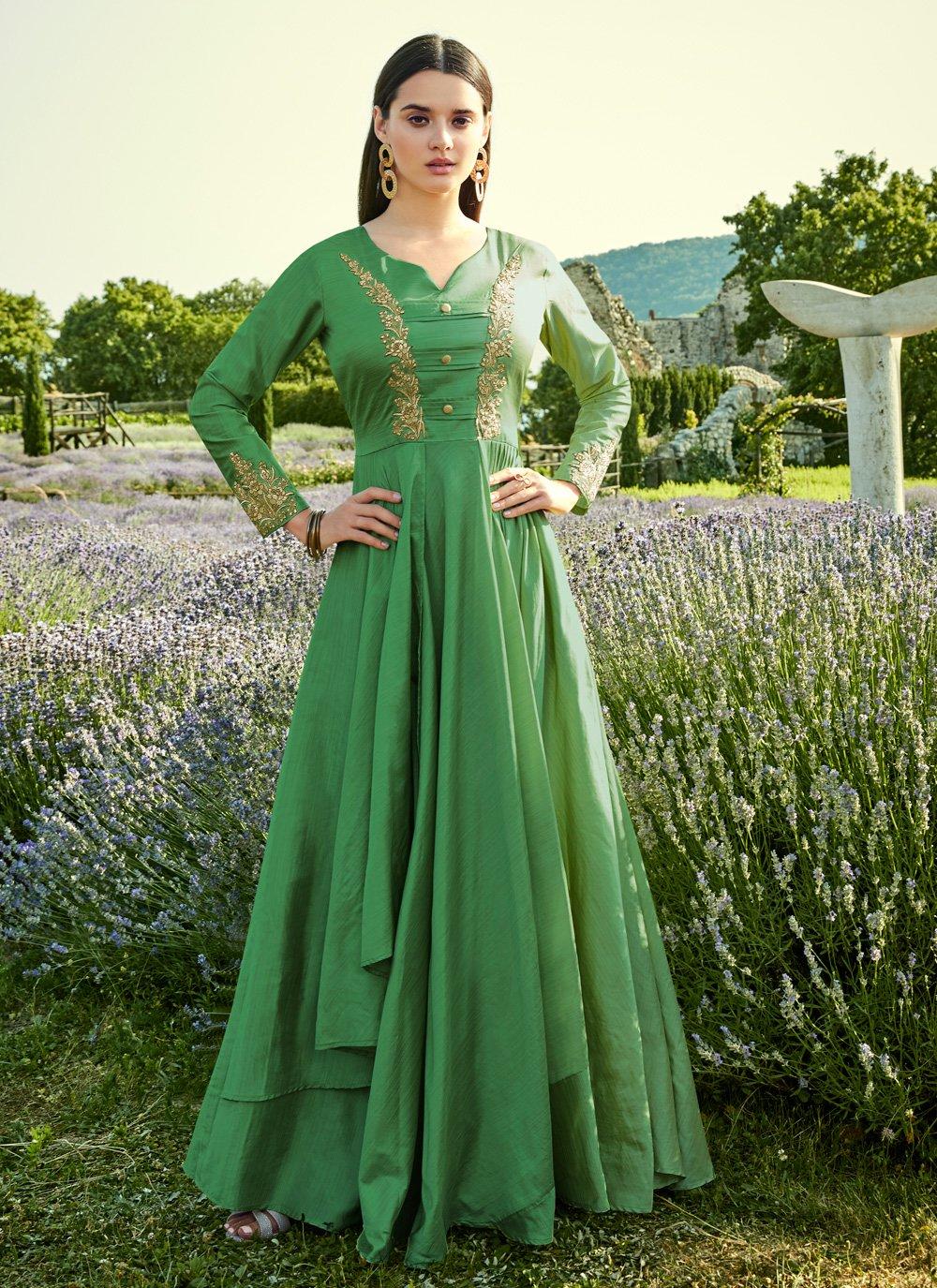 Green Silk Trendy Gown