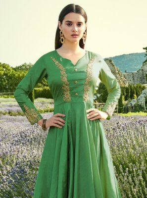Green Silk Trendy Gown