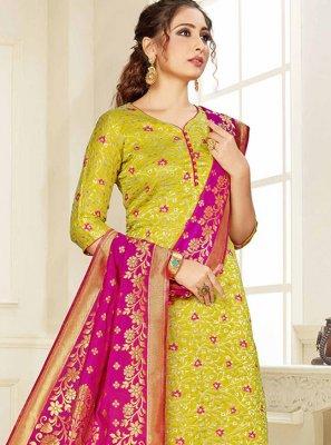 Green Silk Trendy Salwar Suit