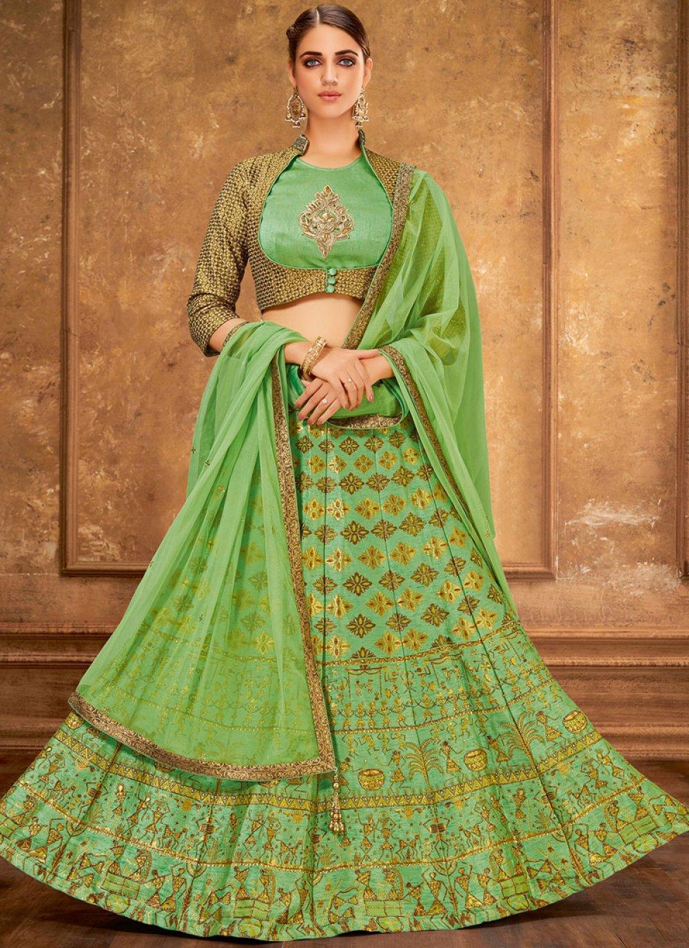 Green Silk Wedding Trendy Designer Lehenga Choli