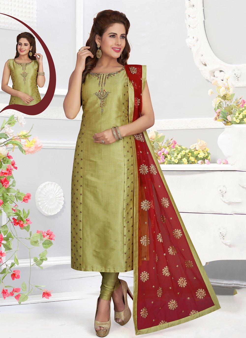 Green Silk Zari Churidar Salwar Kameez