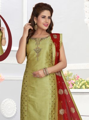 Green Silk Zari Churidar Salwar Kameez