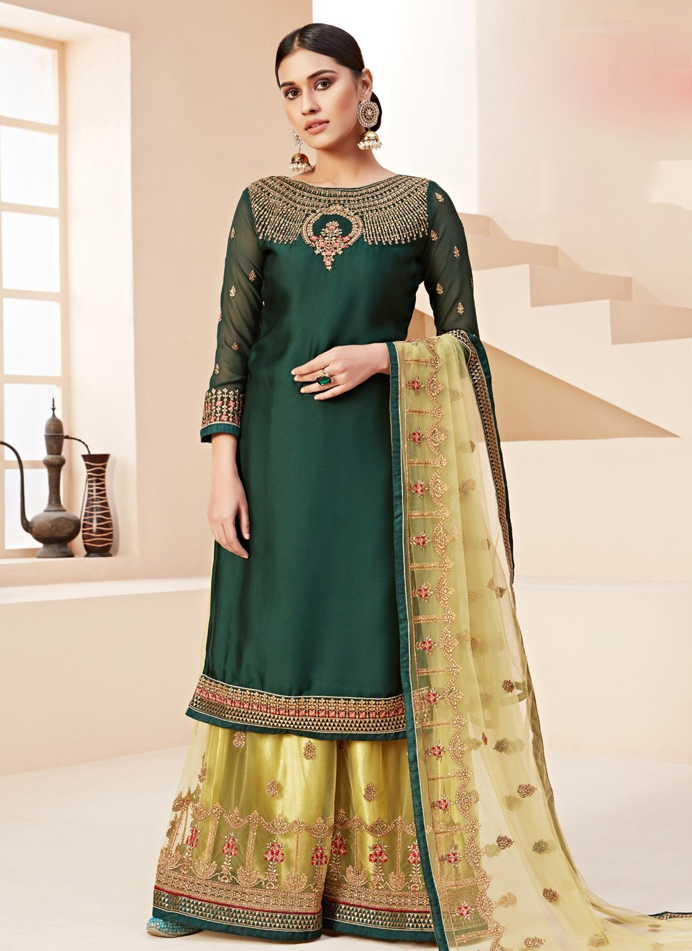 Green Stone Reception Bollywood Salwar Kameez