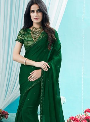 Green Stone Silk Silk Saree