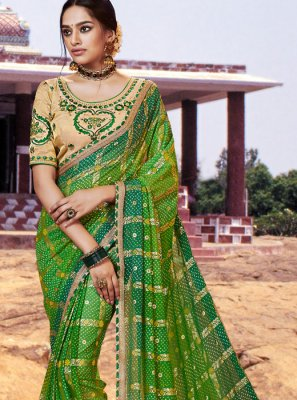 Green Thread Bandhej Saree