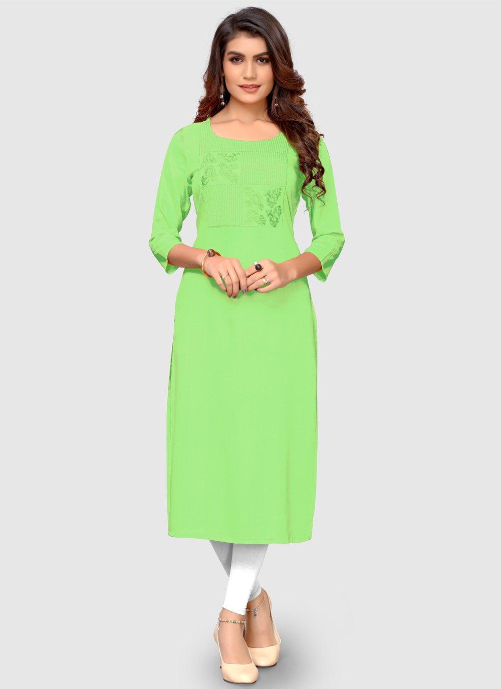 Green Thread Casual Kurti